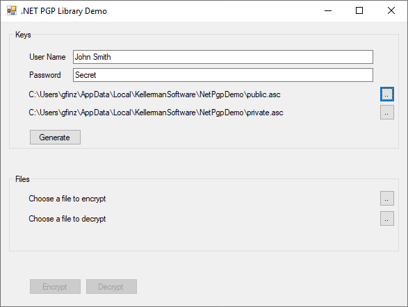 .NET PGP Library Screenshot